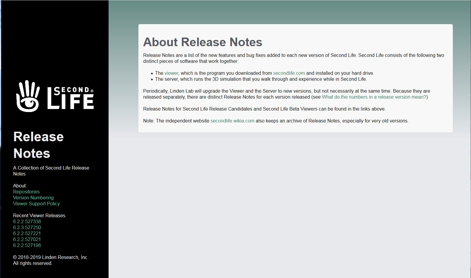 Second Life Newser: New Second Life Viewer Release Notes Website