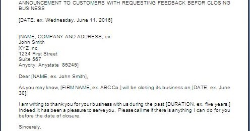 Business Closure Letter To Customers