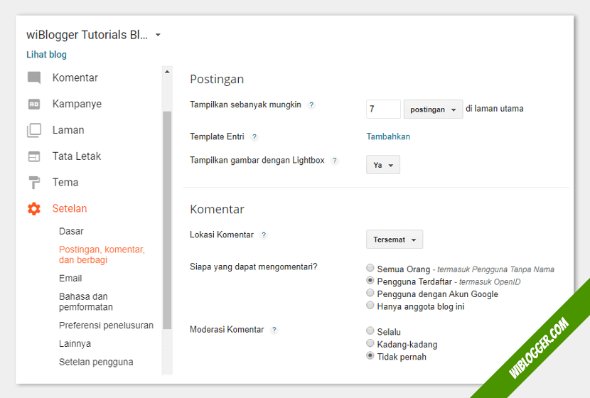 cara mengatur postingan dan komentar blog