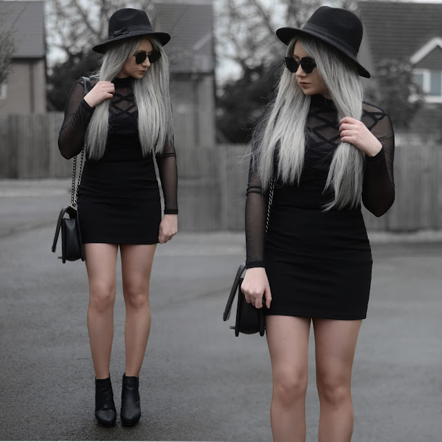 Sammi Jackson - Primark Black Fedora / Zaful Sunglasses / Tobi Know Better Black Mesh Bodycon Dress / OASAP Quilted Flap Bag / Topshop Alexy Ankle Boots