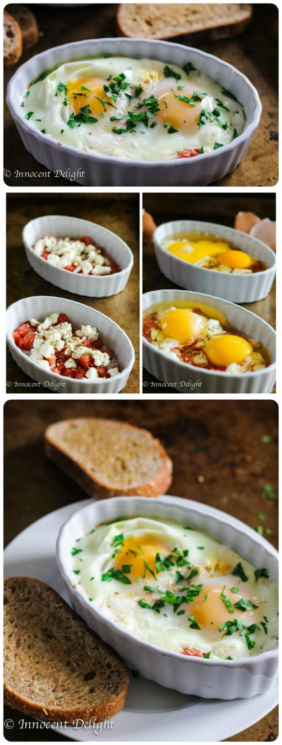 Baked Eggs Tomatoes Feta Cheese