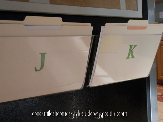 Clear acrylic file holders to organize kids school papers - Kitchen Command Center