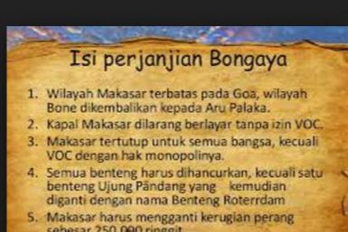 Sebutkan Isi Perjanjian Bongaya 1667