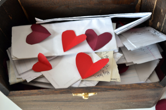 We stored our love notes and cute paper hearts in our love note box