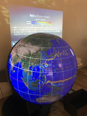 OPUSにあった 地球儀型の海流シュミレーションの写真です。