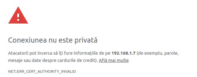 Eroarea legată de emitentul necunoscut al certificatului (în Google Chrome)