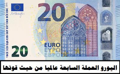 اليورو سابع اغلى عملة عالميا - ترتيب العملات مقابل الدولار | وظائف ناو
