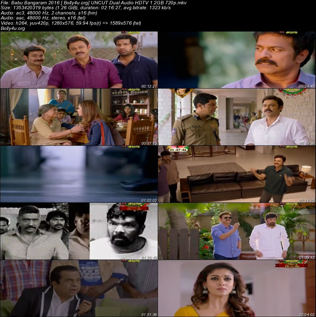 Babu Bangaram 2016 HDTV 400MB Hindi UNCUT Dual Audio 480p Download