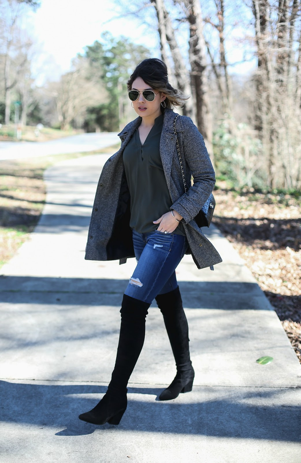 nordstrom lush tunic, over the knee boots, fashion hippie loves
