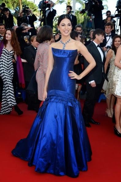 Moran Atilas in radiant blue Roberto Cavalli in Cannes 2013