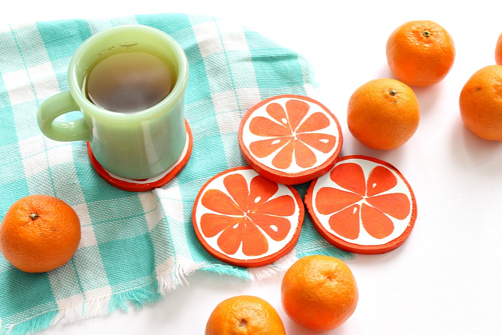 DIY Orange Slice Coasters