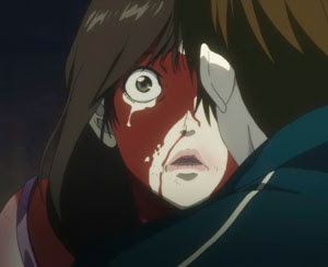 Character's face covered in blood from anime Psycho-Pass.