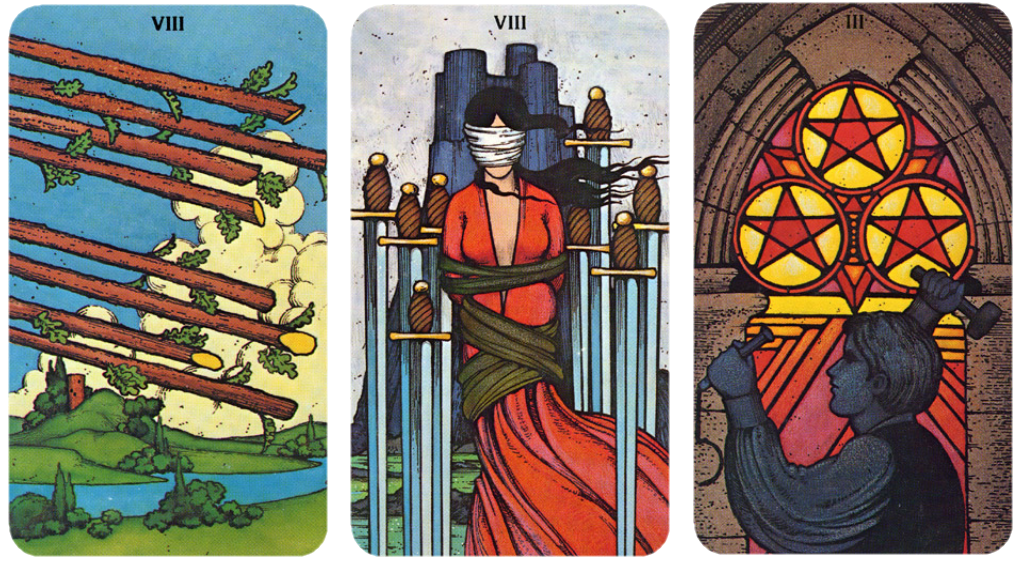 Morgan Greer Tarot Eight of Wands, Eight of Swords, Three of Pentacles