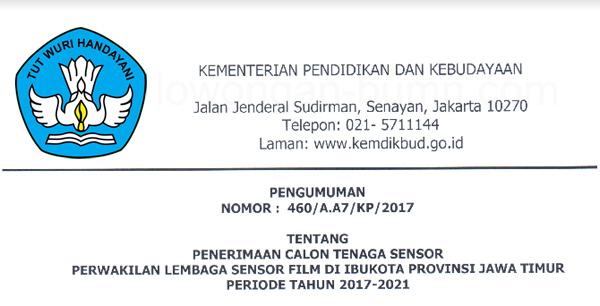 Penerimaan Calon Tenaga Lembaga Sensor Film (LSF) Provinsi Jawa Timur Periode 2017-202