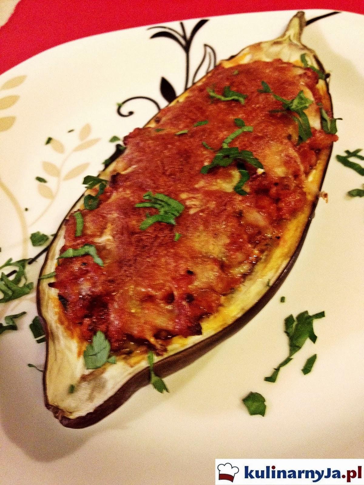 Bakłażan faszerowany- zapieczony mozzarellą