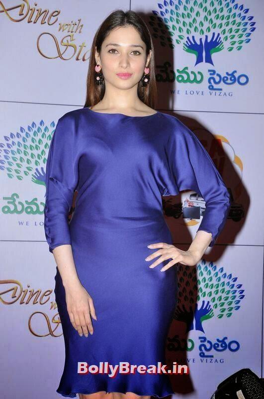 Tollywood Actress Tamanna, Tamanna Bhatia Hot Pics in Blue Dress