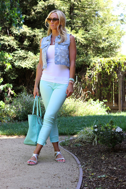 mint denim polka dot vest