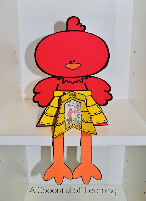 The Little Red Hen - Beginning/Middle/End 3D Hen Craft