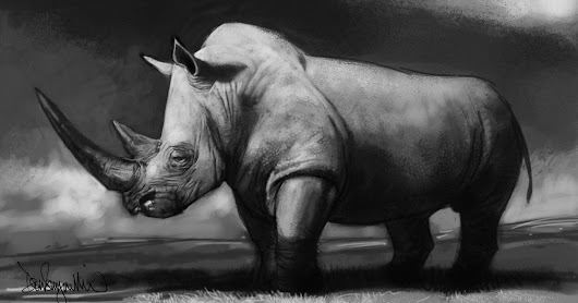 Sketchable Drawing of a White Rhino