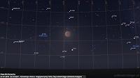 Koniunkcja Marsa we wielkiej opozycji z Księżycem pod koniec fazy całkowitego zaćmienia 27.07.2018 r. o godz. 23:13 CEST - Mapa dla Szczecina