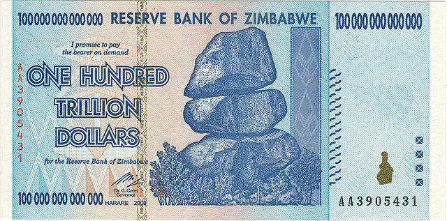 $100 trillion dollar bill in Zimbabwe dollars, front side, from Zimbabwe's worst period of hyperinflation in 2008
