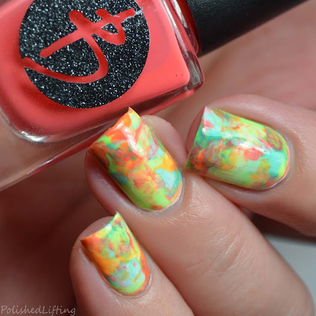 neon rainbow smoosh nail art