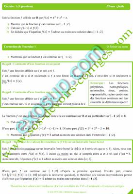 Exercices corrigés Théorème des valeurs intermédiaires (TVI) - Continuité
