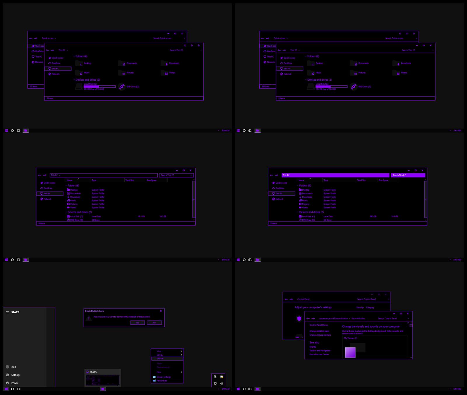Pure Black Purple Neon Theme Windows10 Creators Update 1703
