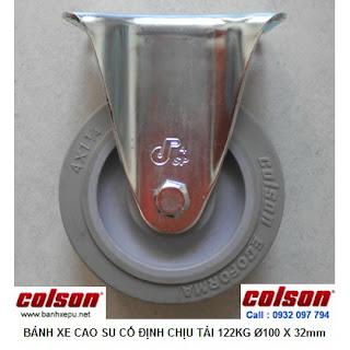 Bánh xe đẩy cao su càng cố định 4 inch chịu lực 122kg | S2-4258-TPE www.banhxepu.net
