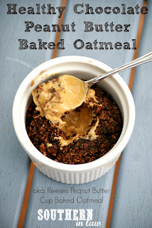 Healthy Single Serve Chocolate Peanut Butter Cup Baked Oatmeal Recipe Gluten Free