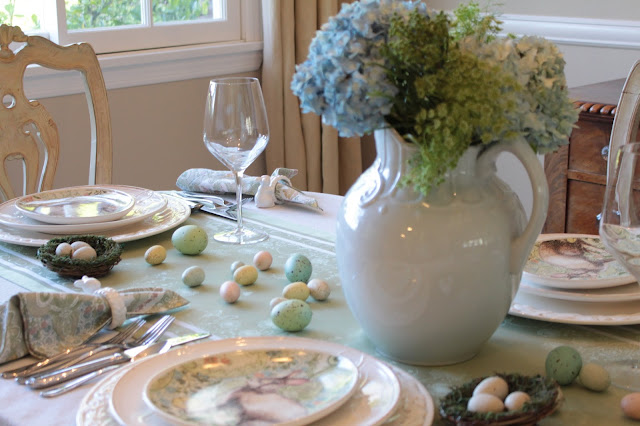 classic easter tablescape pastel easter decor greens blues pinks soft pretty easter decor