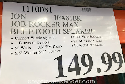 Deal for the Ion Job Rocker Max Wireless Water-Resistant Rugged Speaker (IPA81BK) at Costco