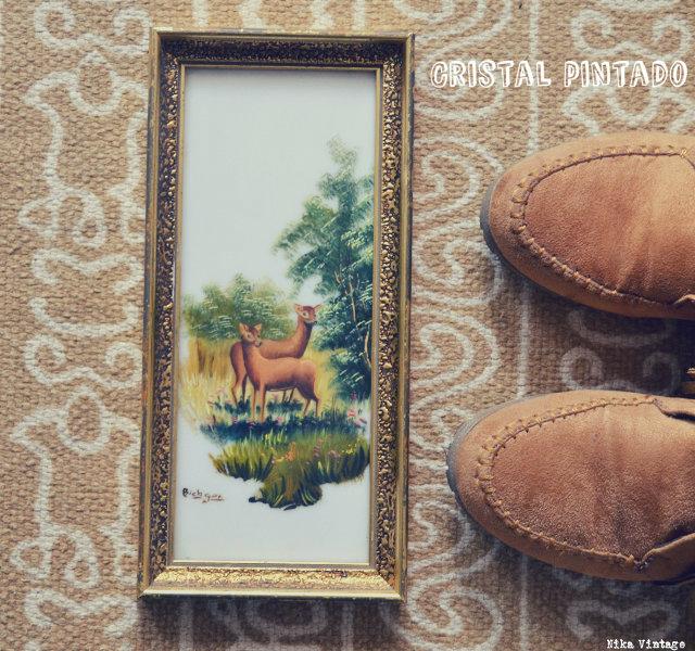 objetos vintagenavideños, navidad, navideños, decorar, decoracion navidad, cuadro ciervos, cristal pintado ciervos