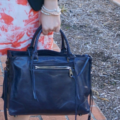 Rebecca Minkoff Regan Satchel Tote in moon with orange dress | awayfromtheblue