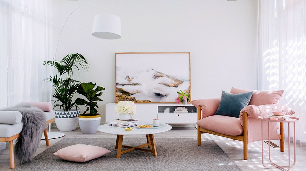 pink gray and blue living room decor
