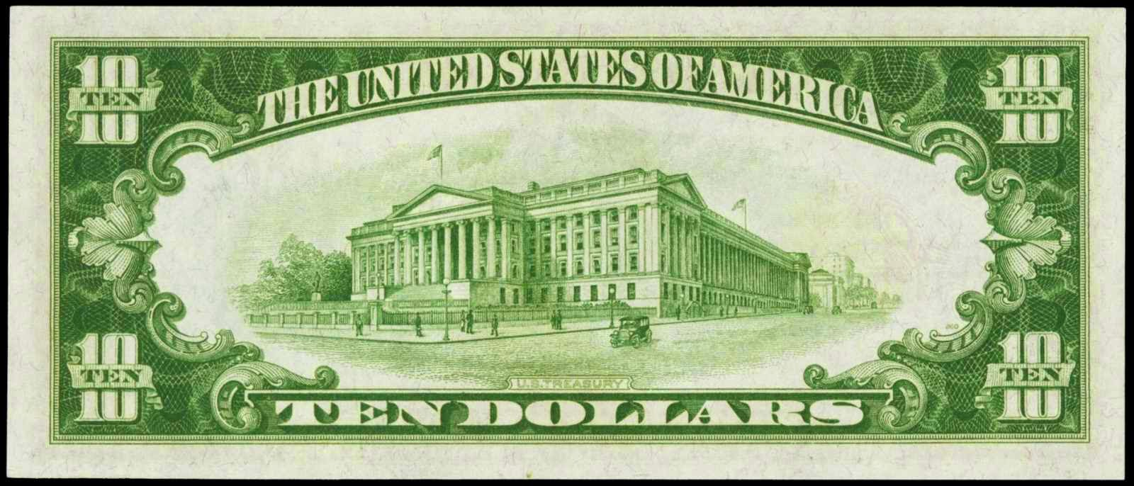 United States currency ten dollars