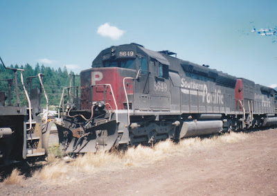 Southern Pacific SD40M-2 #8649 in Oakridge, Oregon, on July 18, 1997