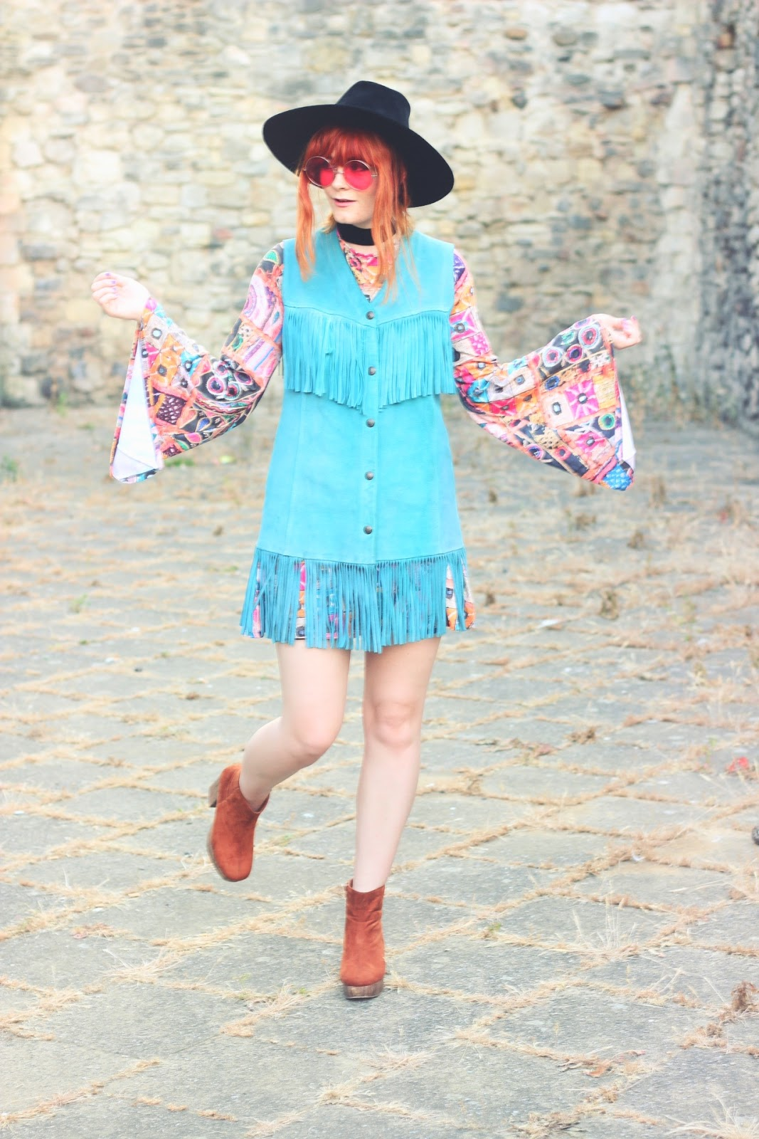 Vintage 70s Turquoise Fringed Suede Waistcoat Fashion Blogger Outfit