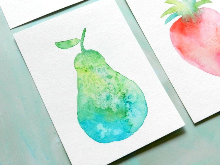 How To Paint Watercolor Fruit Textured Pear Silhouette With Free Template Grow Creative