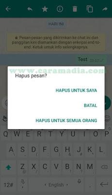cara membatalkan / menarik pesan whatsapp yang salah kirim