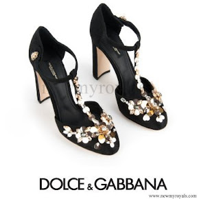 Crown Princess Victoria wore DOLCE and GABBANA T-Strap Brocade Pumps