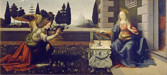 La anunciacion de Leonardo. Galeria Uffizi