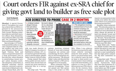 Court orders FIR against ex-SRA chief for giving govt land to builder as free sale plot