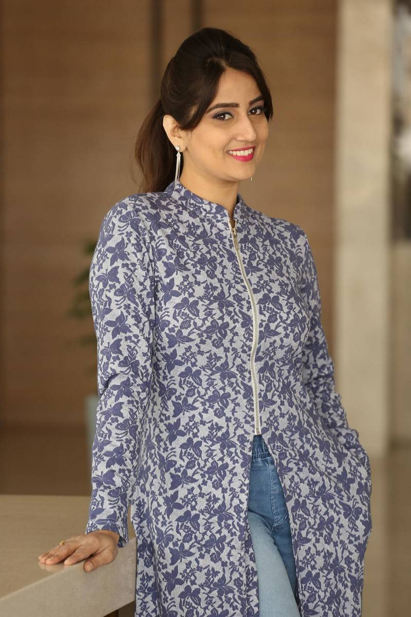 Manjusha Photos In Blue Dress