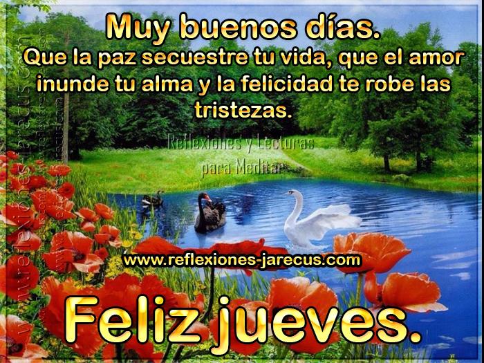 Muy buenos días Que la paz secuestre tu vida, que el amor inunde tu alma y la felicidad te robe las tristezas. Feliz Jueves.