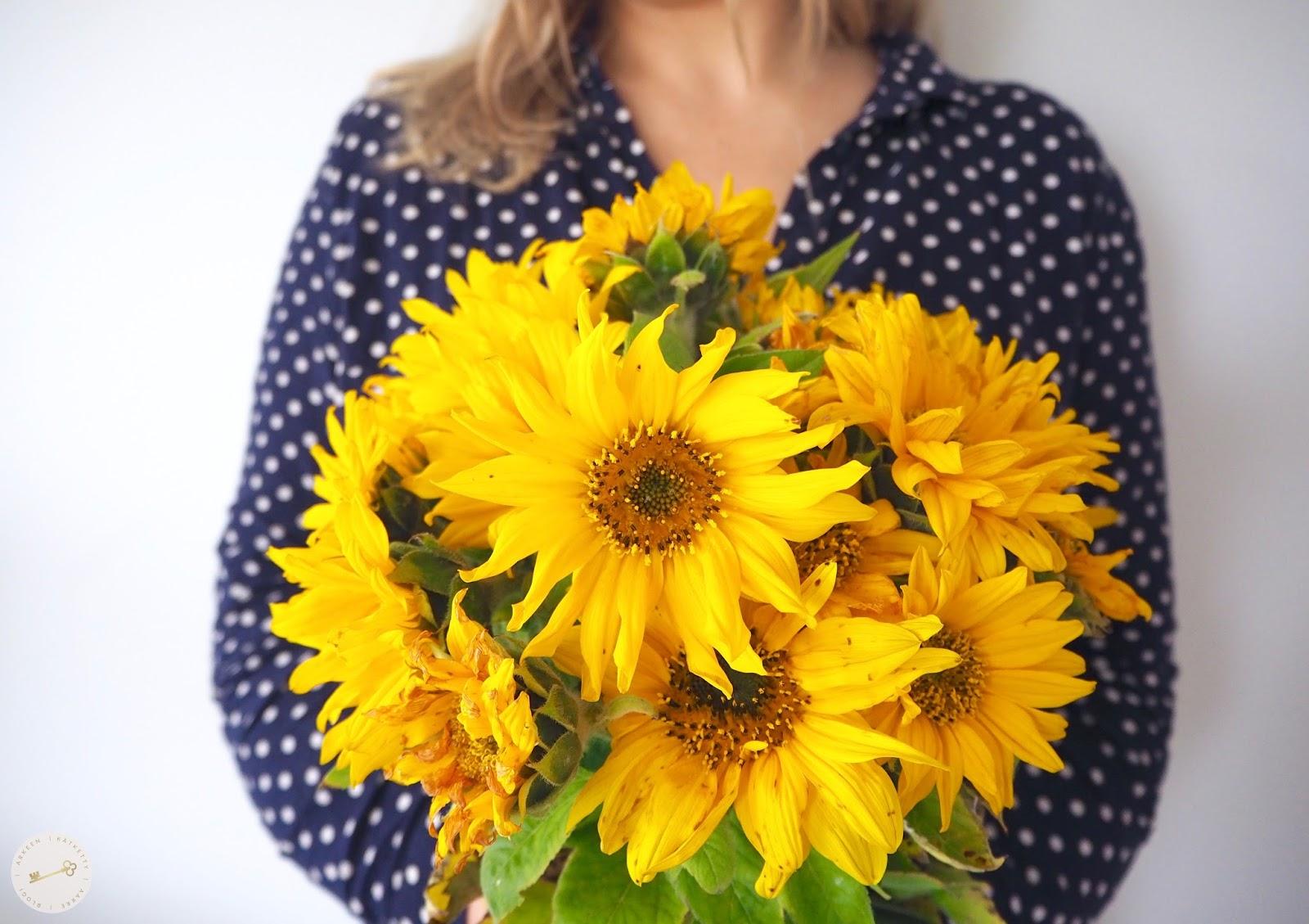Naisella on auringonkukkakimppu kädessään. Oletko sinä lannistaja, vaikenija vai rohkaisija?