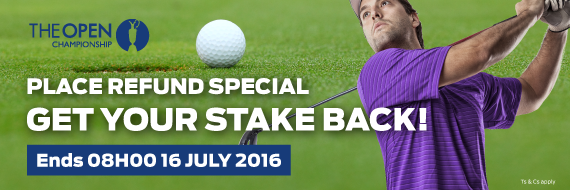 Hollywoodbets' British Open Place Refund Promotion Banner
