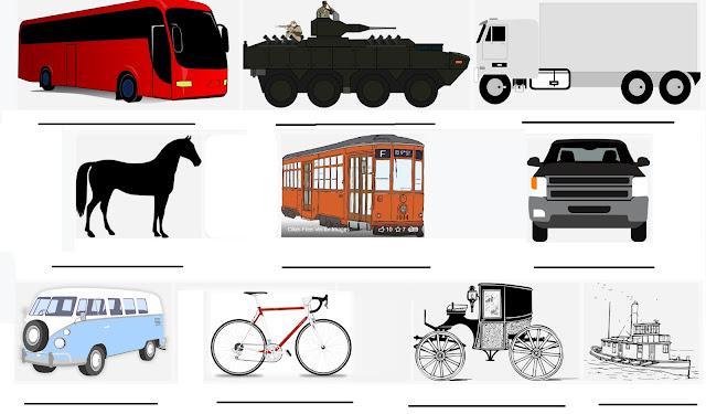 Figuras: Atividades de Educação Infantil: Nome de meios de transporte