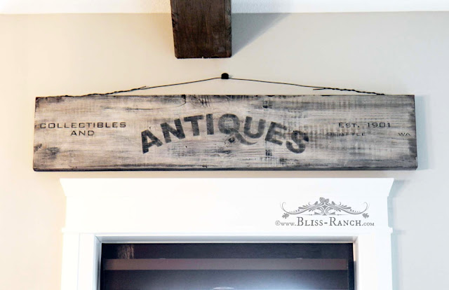 Stenciled Antiques Sign, Bliss-Ranch.com
