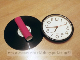 VinylRecordClock lady2 by wesens-art.blogspot.com